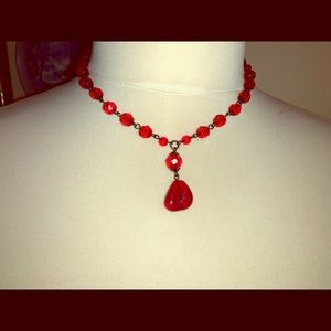 Vintage Red Teardrop Choker Necklace